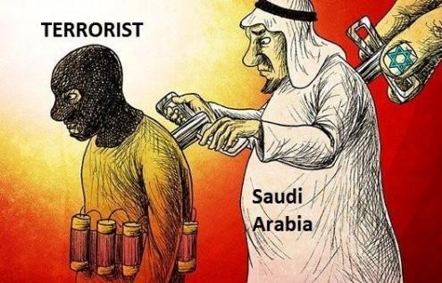Karikatür – Terörizm: korsan İsrail'in eliyle, Suudi Arabistan aracılığıyla yapılıyor