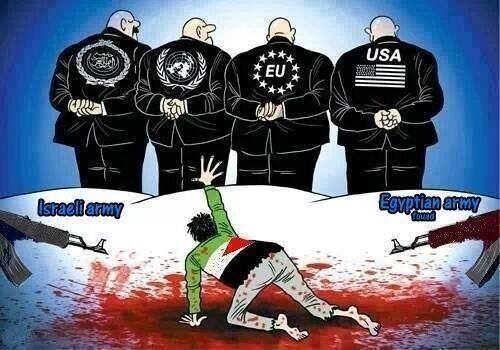 Karikatür – Korsan İsrail ve Mısır, Filistinlileri katlediyor; Dünya görmezden geliyor