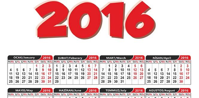 İşte 2016 resmi tatiller listesi
