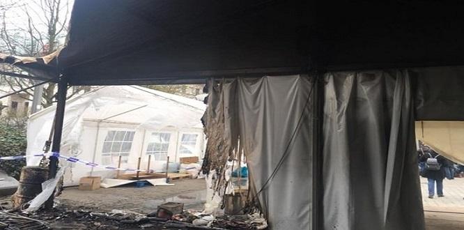 Brüksel'deki PKK çadırında yangın