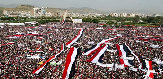 Yemen Halkından Amerika ve İngiliz Karşıtı Dev Protesto