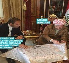Barzani, İngiliz Bakan ile birlikte Kürdistan (Büyük İsrail) haritasına mı bakıyor?